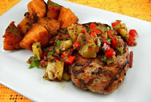 Pork chops w/pineapple Salsa