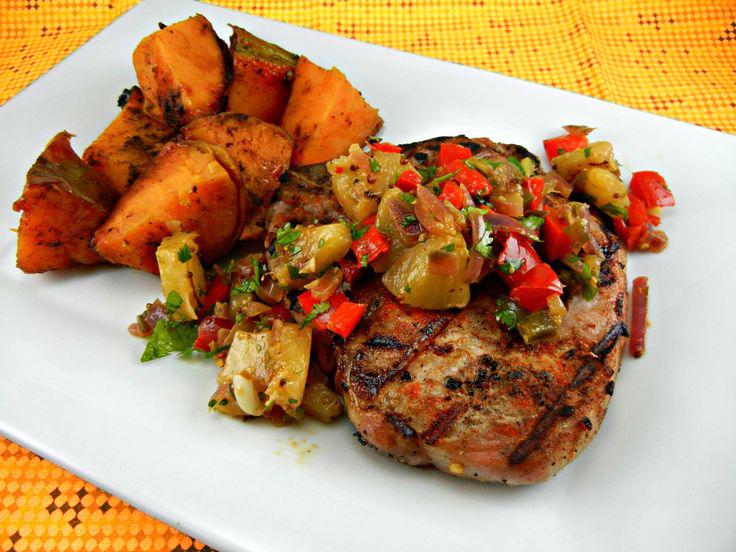 Pork chops w/pineapple Salsa